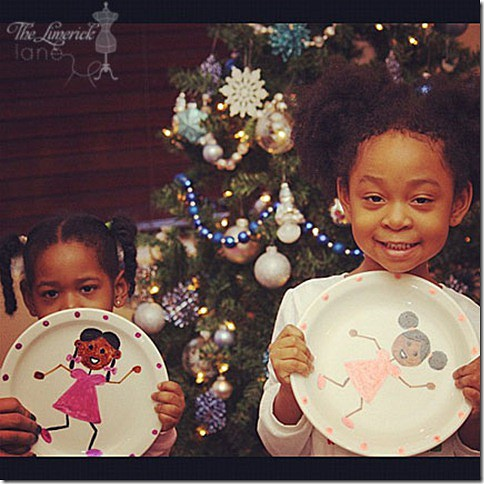 Natural Hair Girls Painted Plates