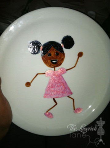 Painted Plate of little girl with Natural Hair