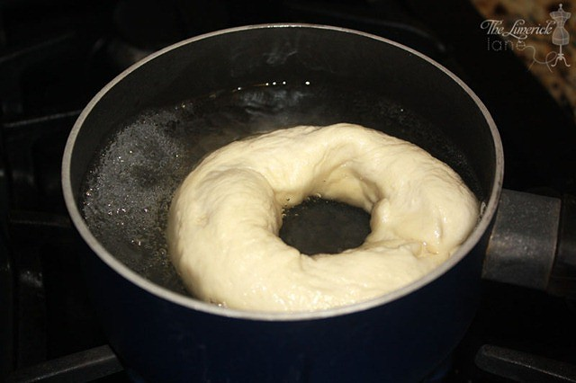 Boiling Homemade Bagel Dough