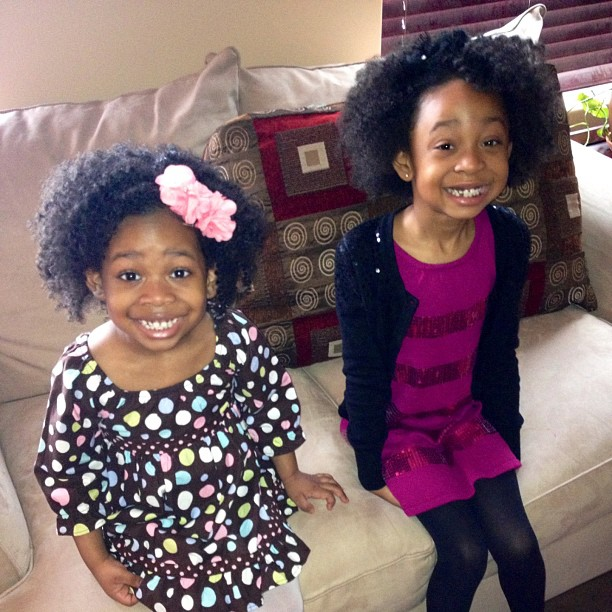 The little ladies are wearing their hair down today. I miss these two. #naturalhair #thelimericklaneblog